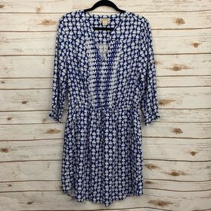 Lucky Brand Blue White Patterned Embroidered Dress